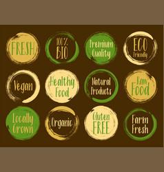 Organic labels bio emblems for restaurants vector