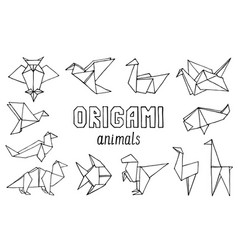 Origami animals hand drawn doodle set vector