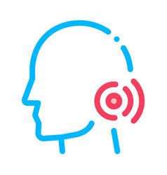 Pin nape pain man silhouette headache icon vector