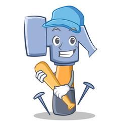 playing baseball hammer character cartoon emoticon vector image