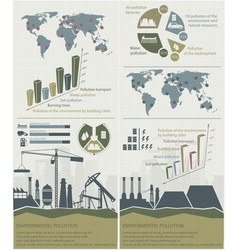Power factories and oil waste pollution ecology vector