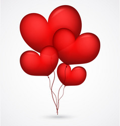 Red balloon heart shape vector