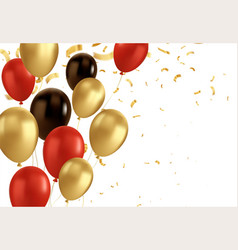 red black and gold balloons and golden confetti vector image