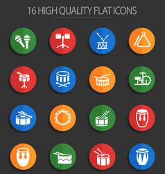 rhythm instruments 16 flat icons vector image