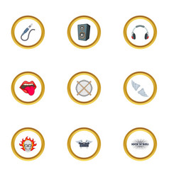 rockstar icons set cartoon style vector image