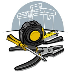 screwdrive pliers and tape measure vector image