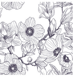 Seamless pattern of magnolia and anemones blossom vector