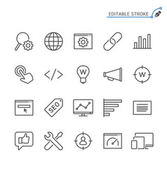 Search engine optimization line icons editable vector