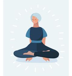 senior woman meditating and exercising vector image