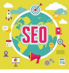 SEO - Search Engine Optimization - in Flat Design vector