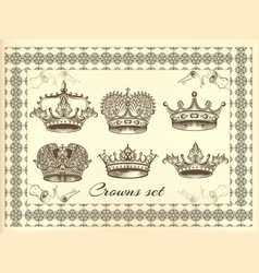 set of crowns for your heraldic design vector image