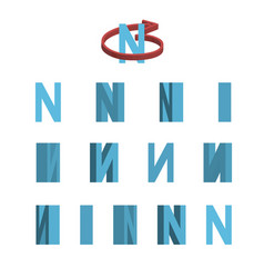 sheet of sprites rotation of cartoon 3d letter n vector image