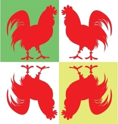 Silhouette of four cock 2017 year Red Rooster vector image