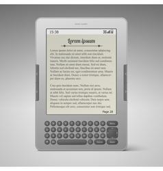 Silver digital keybord book reader vector
