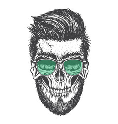 skull and his modern hairstyle vector image