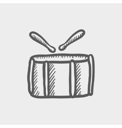 Snare drum with stick sketch icon vector