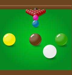 Snooker billiard balls start position on the table vector