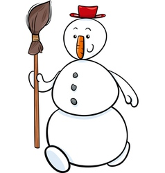 snowman with besom cartoon vector image
