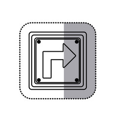 Sticker silhouette square frame turn right traffic vector