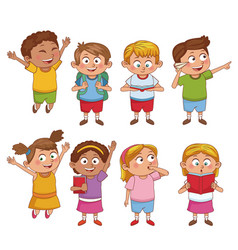 students kids cartoon vector image