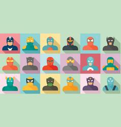 Superhero icons set flat style vector