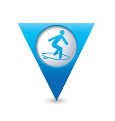 surfing icon map pointer blue vector image