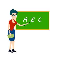 Teacher near the board points flat vector