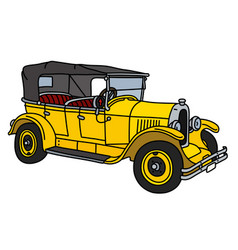 The vintage yellow cabriolet vector
