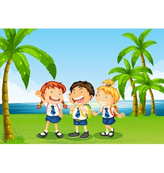 Three pupils at the riverbank vector image