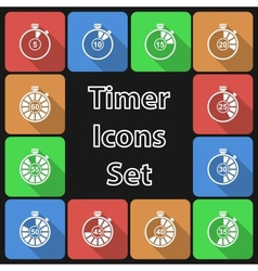 Timer Icon Set with Long Shadow vector image