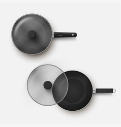 top view set frying pan with lid realistic vector image