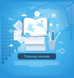 Training courses education concept web banner with vector