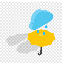 Umbrella and rain isometric icon vector