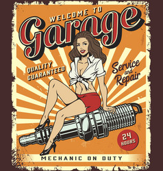 vintage car repair service template vector image
