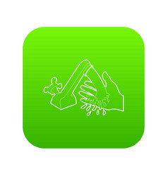 wash hand icon green vector image