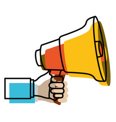 watercolor silhouette of hand holding megaphone vector image