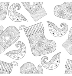 Winter knitted mittens socks seamless pattern in vector image