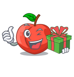 With gift cartoon fresh sweet nectarines in the vector