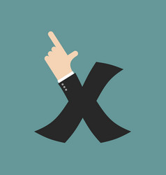x letter businessman hand font it shows finger vector image