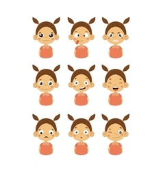 Young Girl Portrait Icons With Different Emotions vector