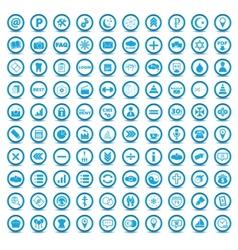Big blue icons set vector image
