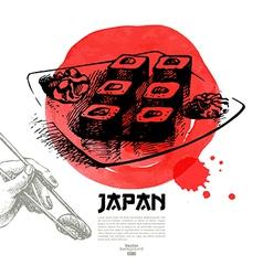 Hand drawn Japanese sushi sketch vector image vector image