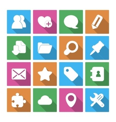 Internet Icons Set with Long Shadow vector image vector image