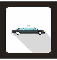 Luxury black limousine icon flat style vector