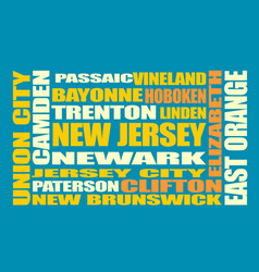 new jersey state cities list vector image vector image
