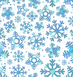 Different blue snowflakes Abstract seamless vector image vector image