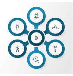 Person outline icons set collection of social vector