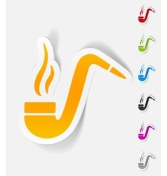 realistic design element tobacco pipe vector image vector image