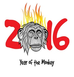 The year of fire monkey Chinese symbol calendar in vector image vector image