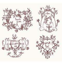 Coats of arms set - retro design in sketch vector image